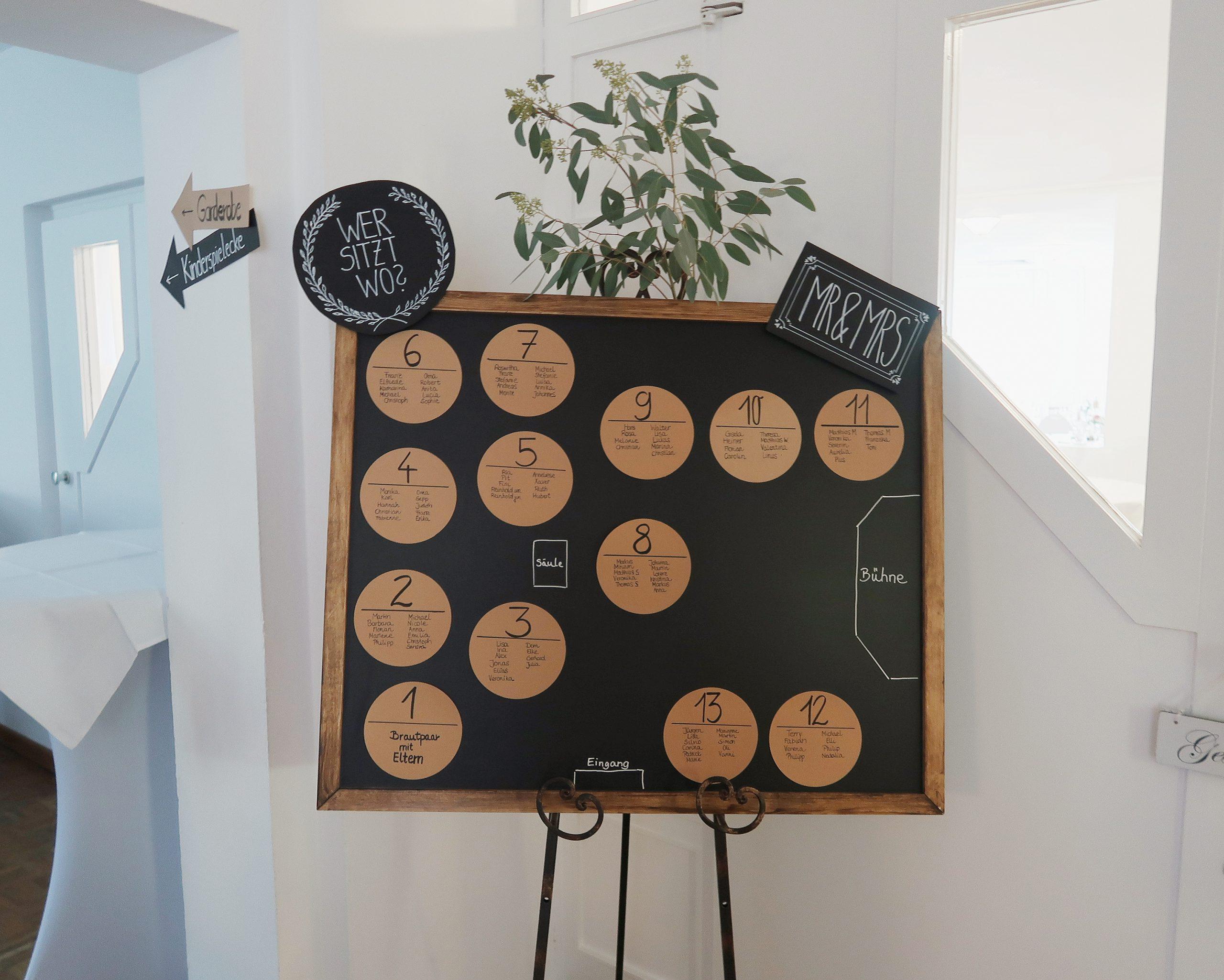 DIY Sitzplan für Hochzeitssaal