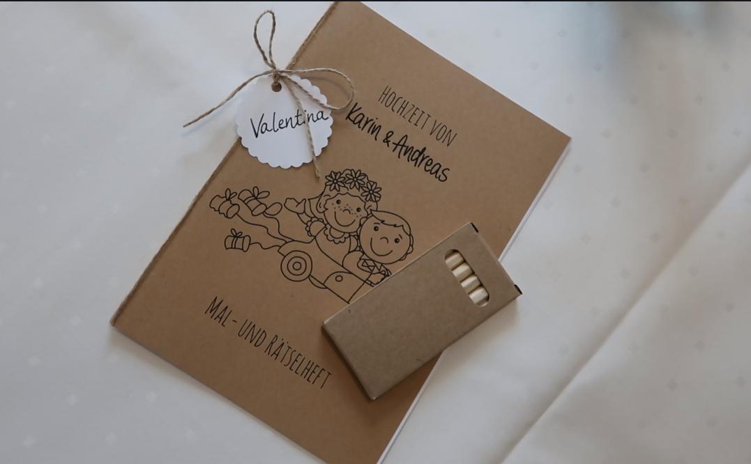 DIY Mal- und Rätselbuch für kleine Hochzeitsgäste